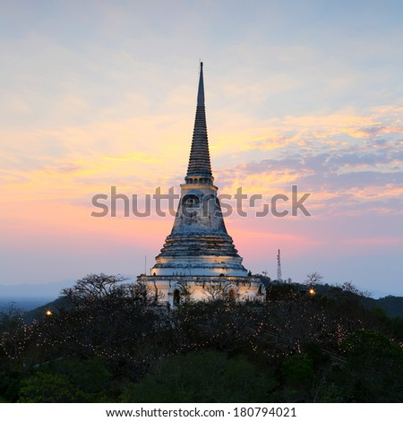 Beautiful night light with Phra Nakhon Khiri on sunset at Phetchaburi, Thailand
