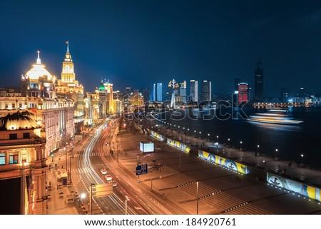 beautiful night scene at the bund in shanghai ,China  - stock photo