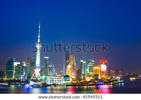 Beautiful night scene in Shanghai , China. - stock photo