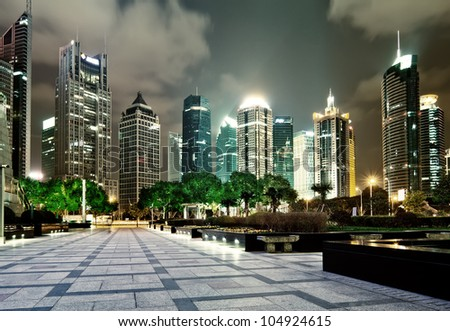beautiful night scene in shanghai financial center - stock photo