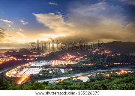 Beautiful night scene of Taiwan for adv or others purpose use - stock photo