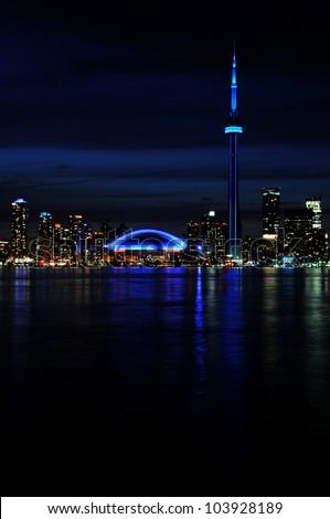 Beautiful night shot of city of Toronto skyline at night, taken from Center Island - stock photo