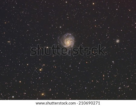 Beautiful Night Sky and Deep sky Object,M101 The Pinwheel Galaxy  in the constellation of PUrsa Major.