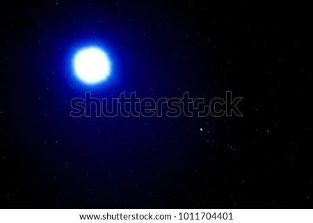 Beautiful Night Sky And Stars Moon Light Nearby Orion Belt Constellation