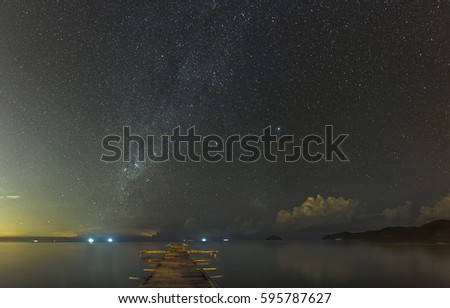 Beautiful Night Sky At The Beach With A Jetty