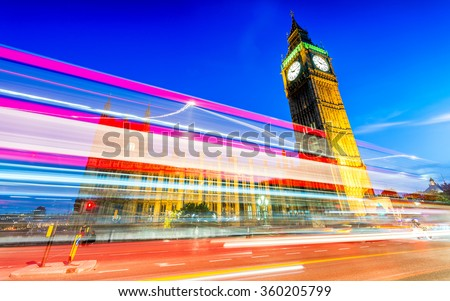 Beautiful night skyline of London. - stock photo