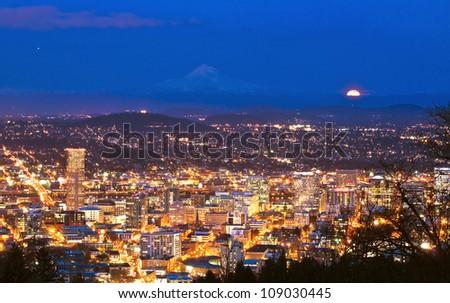 Beautiful night view cityscape from pittock manson - stock photo