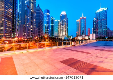 beautiful night view in shanghai - stock photo