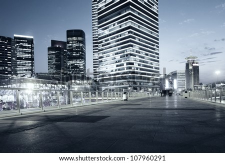 beautiful night view of modern buildings in shanghai - stock photo