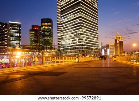 beautiful night view of modern buildings in shanghai - stock photo
