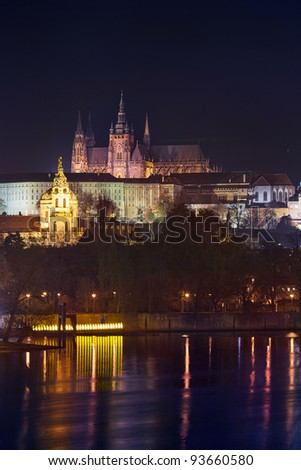 beautiful night view of Prague Castle