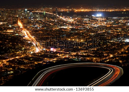 Beautiful Night view of San Francisco with car trails