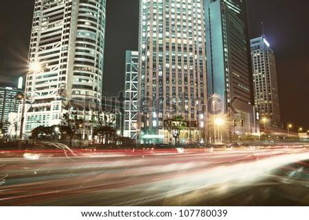 beautiful night view of shanghai finance and trade zone