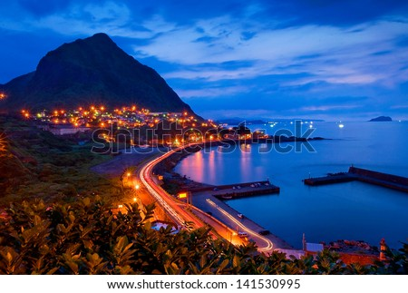 Beautiful night view of the Taiwan coast - stock photo