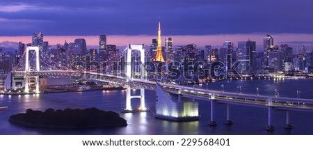 Beautiful night view of Tokyo Bay , Rainbow bridge and Tokyo Tower landmark - stock photo