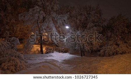 Beautiful night winter scene of the park and wooden bridge after heavy snowfall, Medvedkovo district, Moscow
