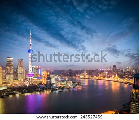 beautiful nightfall scene on both sides of the huangpu river in shanghai ,high angle view. - stock photo