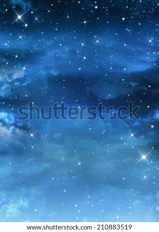beautiful Nightly sky with stars - stock photo