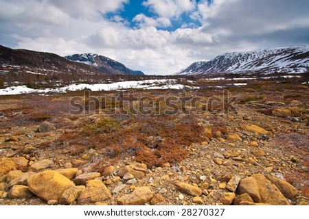 Beautiful northern arctic tundra landscape. Tablelands region of Gros Morne National Park (UNESCO World Heritage Site) in Newfoundland, Canada.
