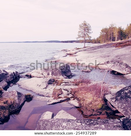 Beautiful northern landscape.Special toned photo in vintage style - stock photo