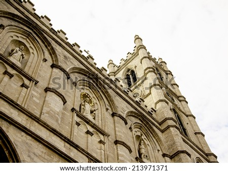 Beautiful Notre Dame Basilica in old Montreal, Canada  - stock photo