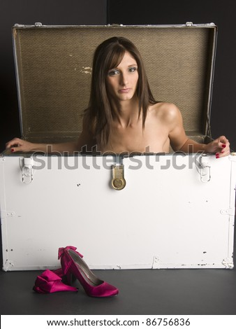 Beautiful Nude Brunette Woman Boxed in Shipping Trunk