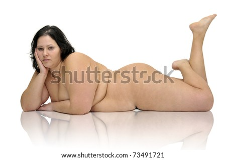 Beautiful nude large girl isolated in white - stock photo