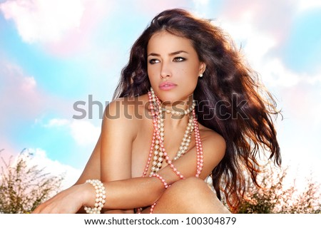 beautiful nude long hair brunette woman, summer day portrait - stock photo