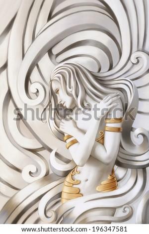 Beautiful nude woman. Illustration. - stock photo