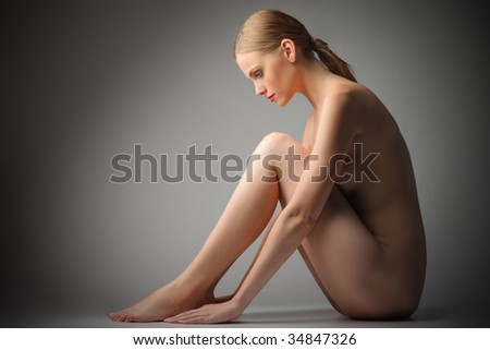 beautiful nude woman isolated - stock photo