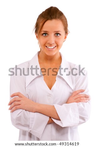 Beautiful nurse in white dressing gown smiles, it is isolated on white background.