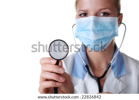 beautiful nurse with stethoscope and mask on white background