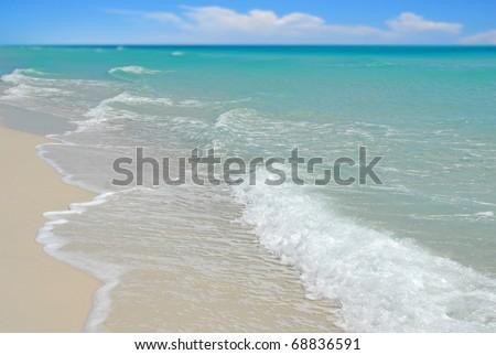 Beautiful ocean and surf on Pensacola Beach - stock photo