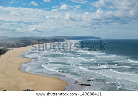 Beautiful ocean beach with waves in South Africa  - stock photo