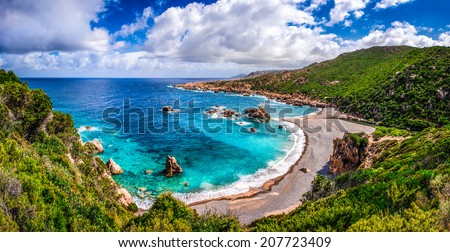 Beautiful ocean coastline in Costa Paradiso, Sardinia, Italy - stock photo