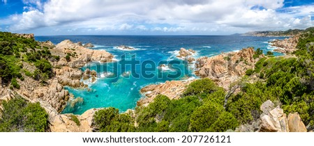 Beautiful ocean coastline panorama in Costa Paradiso, Sardinia, Italy - stock photo