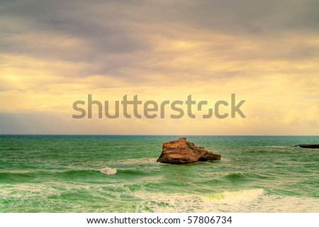 beautiful ocean, seacape, sky and water - stock photo