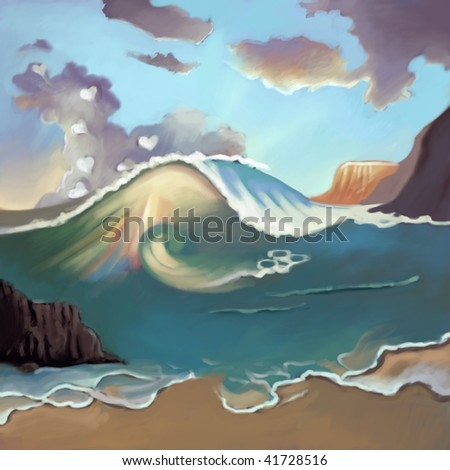 beautiful ocean  (search the word nikos for more) - stock photo
