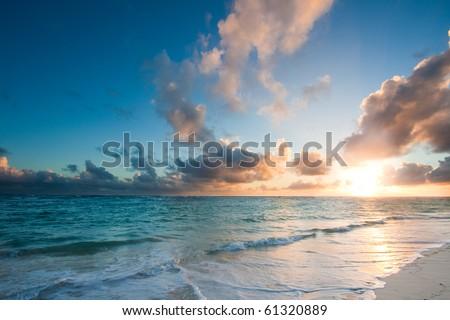Beautiful ocean sunrise sunset - stock photo