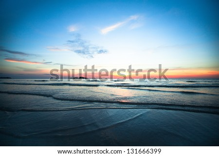 Beautiful ocean sunset - stock photo