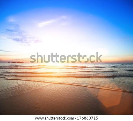 Beautiful ocean sunset. - stock photo