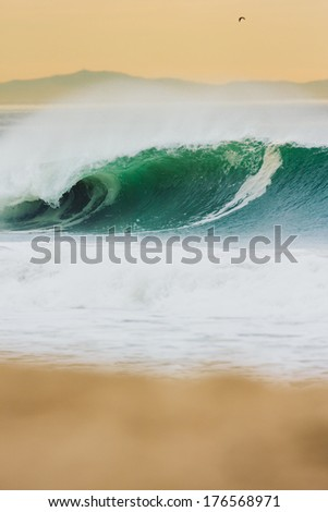 Beautiful Ocean Wave at Sunset, Epic Surf - stock photo