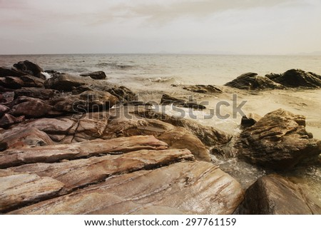 beautiful ocean with rocks, island of Thailand - stock photo