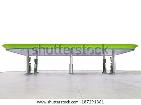 beautiful oil fuel gasoline service station under conception green and eco nature isolated white background for multipurpose decorative - stock photo