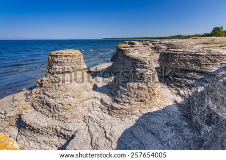 Beautiful Oland's sea cliffs - stock photo