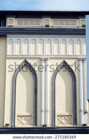 beautiful old architectural facade the building in the city. - stock photo