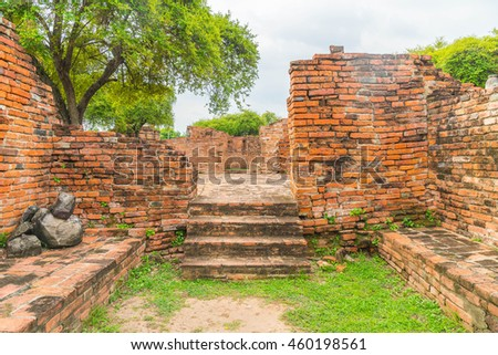 beautiful old architecture at Ayutthaya in Thailand - boost up color processing style