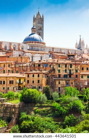 Beautiful old architecture of Siena, Tuscany region, Italy. Famous touristic place. - stock photo