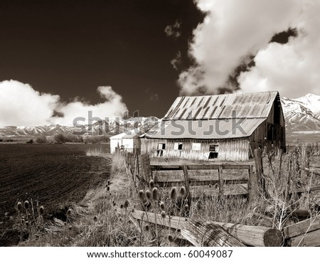 Beautiful old barn on a farm In Idaho - stock photo