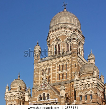 Beautiful old building near Vicoria Terminus in Mumbai, India - stock photo
